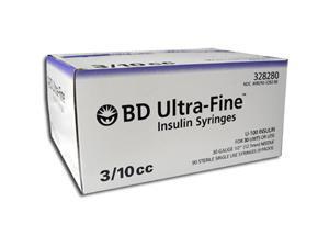 BD Ultra-Fine Insulin Syringes 30G 3/10cc 1/2 in - 90 ea