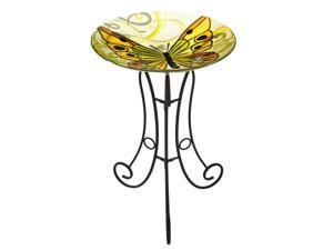 Yellow and Green Swirls Butterfly Glass Birdbath Set with Stand