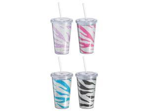 Colorful Bedazzled Zebra Stripes Acrylic Bling Cup Set