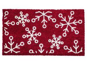 Evergreen Snowflake FlockedCoir Mat, 28 x 16 inches