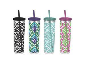 Acrylic Colorful Zebra Insulated Skinny Cups with Freezable Ice Cubes