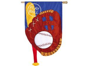 Evergreen Applique Play Ball House Flag, 28 x 44 inches