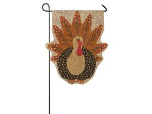 Turkey Time Shaped Burlap Garden Flag