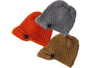 Classic Camel Orange And Light Grey Button Brim Knit Hats Set Of 3