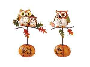 Cypress Home Polystone Perched Owl Statues, Set of 2