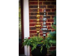 Evergreen Holiday Metallic Mercury Glass Garden Stakes, Set of 2