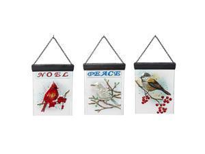 Peace and Noel Birds Solar Luminous Glass Design Posts Set of 3