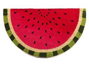 Evergreen Watermelon Shaped Coir Mat, 28 x 16 inches