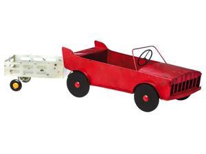 Vintage Red Car Planter With Trailer