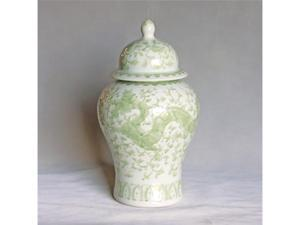 Legends of Asia Celadon Dragon Lotus Temple Jar - Large