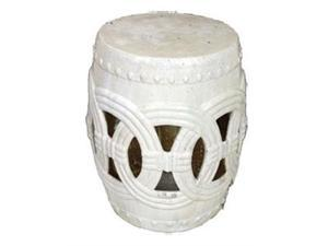 Hampton Row Circle of Life Garden Stool in White Antiqued