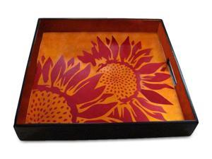 J Fleet Designs Sunflower Big Tray in Coffee / Red