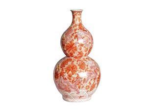 Legends of Asia Dragon Ceramic Gourd Vase in Orange