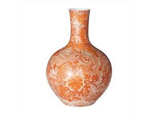 Legends of Asia Ceramic Globular Vase with Dragon Motif in Orange