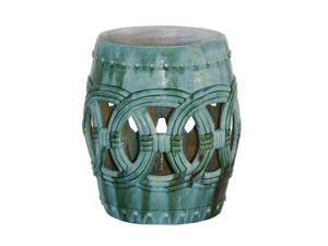 Turquoise Small Rope Ceramic Garden Stool