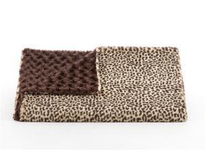 "Lux Cheetah/Brown Rosebud Throw-52"" x 60"""