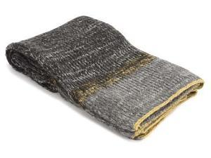 Grey Wool Throw with Yellow Trim Throw