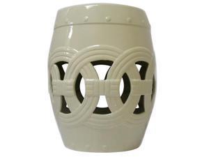 Circle of Life Garden Stool-Cream White