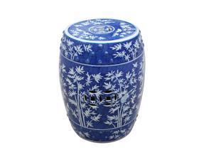 Oriental Ceramic Garden Stool Blue & White Bamboo Magpie