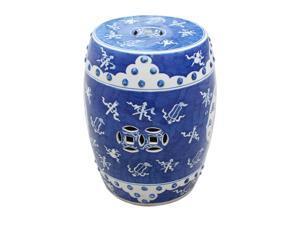Oriental Ceramic Garden Stool Blue & White Ancient Pattern
