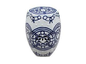 Hexagonal Oriental Ceramic Stool Blue & White Pattern of Lines