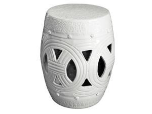 White Carved Rope Chinese Garden Stool