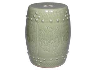 Longquan Oriental Celadon Ceramic Garden Stool with Lotus Motif