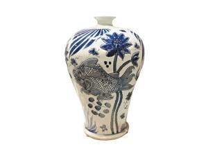 Blue and White Carved Fish Plum Vase