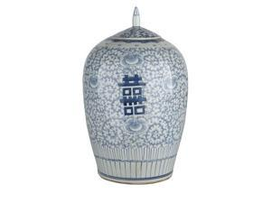 Chinese Ceramic Double Happiness Floral Temple Jar Blue & White