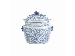 Chinese Ceramic Rice Jar Blue & White  Floral Motif