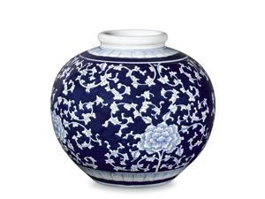 Asian Décorative Ceramic Vessel Blue and White Peony