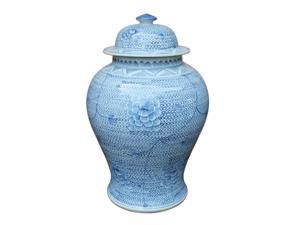 Oriental Ceramic Temple Jar Blue and White Chain