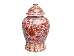 Chinese Ceramic Temple Jar- Coral Red Twisted Lotus