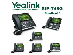 Yealink SIP-T48G 6-Pack Gigabit 16 Line IP Phone Touchscreen POE No Power Supply