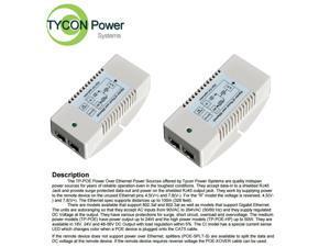 Tycon TP-POE-HP-48DX2 120/240VAC In, Dual 56VDC 802.3af/at Out 50W