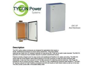 Tycon Power Systems ENC-ST-23x14x12 - Weatherproof Steel Enclosure, 23x14x12in