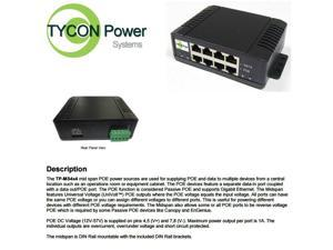 Tycon Power TP-MS4X4 - Mid Span High Power POE Injector - 4 Port
