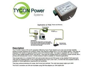 Tycon Power TP-DCDC-1218 9-36VDC IN 18VDC OUT 24W DC to DC Converter and POE