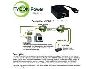 Tycon (POE-MSPLT-USB) Mini Splitter 802.3af/at or passive48 POE In, USB 15W Out