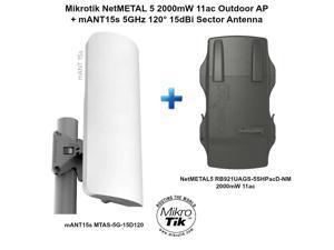 Mikrotik NetMETAL 5 2000mW 11ac Outdoor AP + mANT15s 5GHz 15dBi Sector Antenna