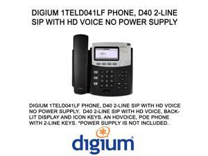 Digium 1TELD041LF Phone, D40 2-Line SIP with HD Voice NO POWER SUPPLY