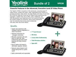 Yealink VP530 Bundle of 2 Executive Level IP Video Phone, 4 Line, Touch Screen