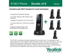 Yealink W52H, Bundle of 6 SIP Cordless VoIP Phone System for Business Solutions