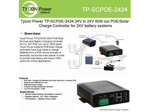Tycon - POE/Solar Dual input battery charging controller. 24V in 24V out, 5A