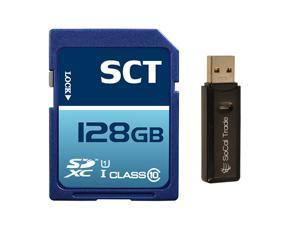 SCT 128GB SD XC Class 10 UHS-1 Secure Digital Ultimate Extreme Speed SDXC Flash Memory Card 128G 128 GB GIGS (S.F128.RT.550) with SoCal Trade SCT Dual Slot Memory Card Reader - Retail Packaging