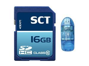 SCT 16GB SD HC Class 10 Memory Card 16G Secure Digital SDHC SCTSD-016G with Blue SD Memory Card Reader