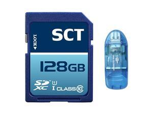 SCT 128GB SD XC Class 10 UHS-1 Memory Card 128G Secure Digital SDXC SCTSD-128G with Blue SD Memory Card Reader