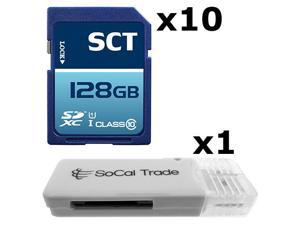 10 PACK - Lot of 10 SCT 128GB SD XC Class 10 UHS-1 SDXC Flash Memory Card with SD Memory Card Reader