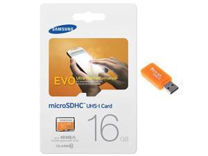 Samsung Evo 16GB MicroSD HC Class 10 UHS-1 Ultra Mobile Memory Card 16G MB-MP16D with Memory Card Reader