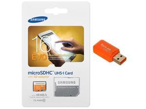 Samsung Evo 16GB MicroSD HC Class 10 UHS-1 Ultra Mobile Memory Card 16G MB-MP16DA with Memory Card Reader